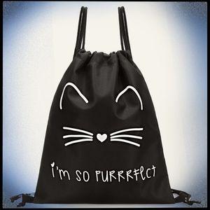 Black Cat Face Drawstring Backpack Bag Adjustable